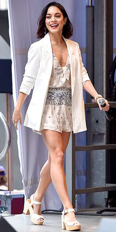 Last Night's Look: Love It or Leave It? | VANESSA HUDGENS | in a white romper with blue floral detailing, which she accessorized with an oversized white Asos blazer and white platform sandals, at the #StarsInTheAlley Outdoor Concert in N.Y.C.