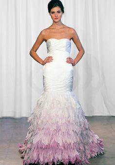 Jaw-dropping Kelly Faetanini silk satin fit to flare Gown with ombre feathered-skirt. Style: Feathers