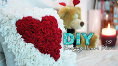 DIY Shaggy Heart Pillow - Perfect for Valentines Day! To my first 3 original commenters from this video: I didnt delete your comment! I deleted the original video upload to fix the loud music. xo This is a tutorial on how to DIY a shaggy heart Valentines Bricolage, Valentines Diy, Valentine Pillow, Pom Poms, Saint Valentin Diy, Heart Cushion, Diy Cushion, Cushion Covers, Diy Throw Pillows