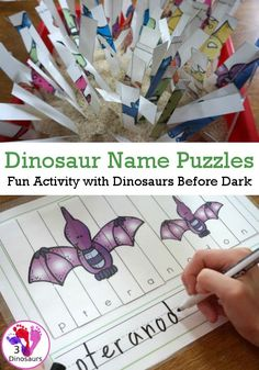 Spelling Dinosaurs Names With Dinosaurs Before Dark Dinosaur Books For Kids, Dinosaur Activities, Dinosaur Crafts, Spelling Activities, The Good Dinosaur, Kids Learning Activities, Fun Learning, Dinosaurs Preschool, Spelling For Kids