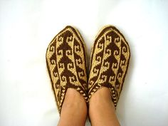 hand knit Slippers for Women womens slippers by AnatoliaDreams