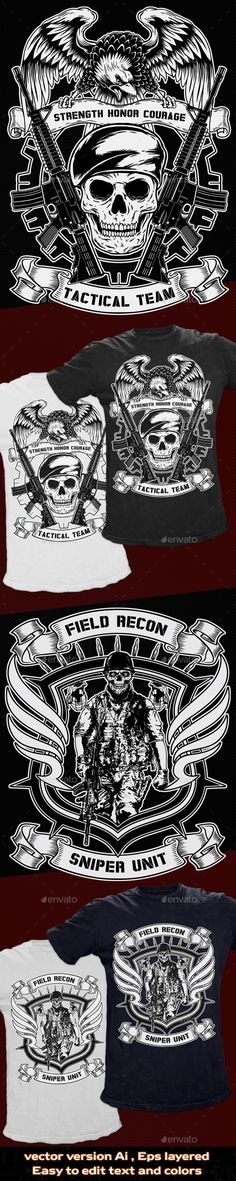 2 T-Shirt Template Military Theme Illustration Template  - Download: http://graphicriver.net/item/2-tshirt-template-military-theme/10875824?ref=ksioks