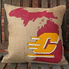 Central Michigan University hand painted pillow by HavenByLaura, $45.00