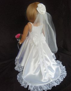 American Girl Doll Clothes Wedding Gown Dress by SewSoNancy American Girl Outfits, My American Girl, American Doll Clothes, Girl Doll Clothes, Doll Clothes Patterns, Girl Dolls, American Dolls, Wedding Dresses For Girls, Flower Girl Dresses