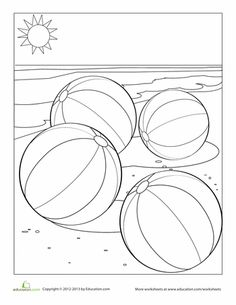 Worksheets: Beach Ball Coloring Page