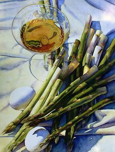 Cooking with Wine by Chris Krupinski Watercolor ~ 30 x 22