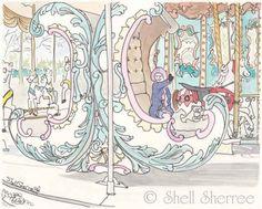 Paris Pastel Carousel Ride Jardins des Tuileries Print by ShellSherree on etsy.