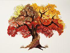 Genähter Herbstbaum 70 x 50 cm