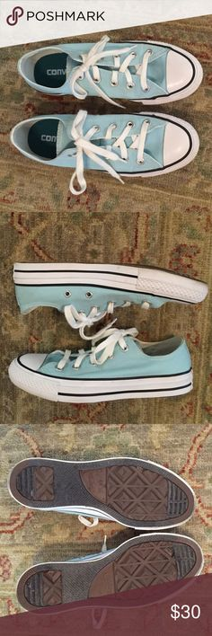 Converse Sneakers EUC Pretty, women's, light aqua converse. Has double tongue. Only worn a few times. A little too small for me. I need to buy next size up. No flaws. Converse Shoes Sneakers