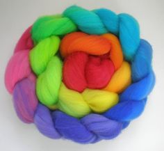 hand dyed superwash roving wool top spinning fiber by wildhare, $18.00