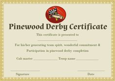 pinewood derby certificate templates - Pinewood Derby Certificate Templates