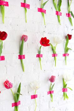 brightly colored tape + flowers = the perfect photo backdrop for a party