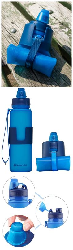 Nomader Collapsible Water Bottle - engineered with a thick, soft silicone body and a rigid insulated sleeve, this lightweight sports bottle maintains its sturdy shape with or without liquid. #affiliate