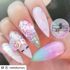 Anywhere Mary ・・・ In a daydream. Tag a unicorn lover. Victor's Barber Shop & Beauty Salon shelaedna unicorn nails Anywhere Mary ・・・ In a daydream. Tag a unicorn lover. Unicorn Nails Designs, Unicorn Nail Art, Love Nails, Pretty Nails, My Nails, Pastel Nails, Acrylic Nails, Artificial Nails, Stylish Nails