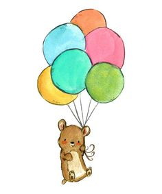 Another great find on #zulily! Bear & Balloons Print #zulilyfinds
