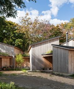 Japanese architect Makoto Suzuki has designed his own live-work space made up of interlocking timber-clad buildings near Sapporo on Hokkaido island. Nature Architecture, Japanese Architecture, Amazing Architecture, Cabin Design, House Design, Cheap Building Materials, Timber Cabin, Reclaimed Timber, Timber Cladding