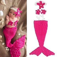 a59de3f43f Newborn Baby Girl Knit Crochet Mermaid Tutu Dress Costume Baby Photo Prop  Outfit