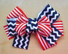 Patriotic Chevron Hair Bow by TheFancyFlutterby on Etsy, $12.00 America chevron stripe grosgrain ribbon hair bow