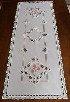 HARDANGER Embroidery - large TABLE RUNNER with pink TULIPS for SPRING - handmade