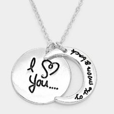 """I ? You To the Moon and Back"" Necklace Color : Silver Theme : Heart, Love Necklace Size : 16"" + 2"" L Pendant Size : 0.75"" X 0.75"" ""I ? You To the Moon and Back"" Crescent Pendant Necklace  Please DO NOT purchasing this listing. Simply comment below and I'll make a new listing for you! :) Jewelry Necklaces"