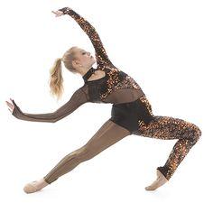 Custom edgy unitard- black mesh leg- custom sequin lace left leg- love this costume!