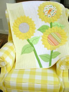 Flannel Baby Quilt Modern Applique Free Shipping by QuiltAttic,
