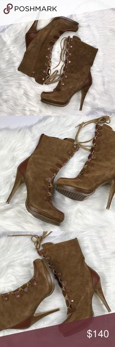 "Charles David Suede Lace Up Boots! So gorgeous in person! Brand new, never worn. Genuine leather/suede. 5"" heel. Rubber textured sole. Size zip entry. Size 10. No box. Charles David Shoes Lace Up Boots"