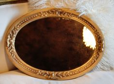 Antique French Barbola Oval Gilt Mirror