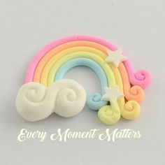 Rainbows with Star & Clouds Polymer Clay Cabochons Embellishments – CRAFTS Cute Polymer Clay, Cute Clay, Fimo Clay, Polymer Clay Charms, Polymer Clay Projects, Polymer Clay Creations, Handmade Polymer Clay, Clay Crafts, Felt Crafts