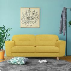 living room love seat, yellow color sofa, enjoy your life now. Simple Furniture, Sofa, Couch, Enjoy Your Life, Love Seat, Living Room, Yellow, Home Decor, Settee