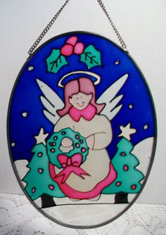 Stained Glass Angel Sun Catcher Christmas Decor Holiday Holly Leaf Berry