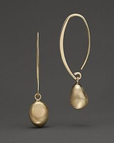 Satin Gold Drop Threader Earrings in 14 Kt. Yellow Gold | Bloomingdale's