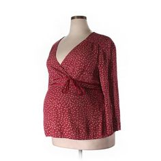 Pre-owned Motherhood 3/4 Sleeve Blouse Size 20: Red Women's Tops ($15) ❤ liked on Polyvore featuring plus size women's fashion, plus size clothing, plus size tops, plus size blouses, red, three quarter sleeve tops, red blouse, three quarter sleeve blouses, 3/4 sleeve blouse and motherhood maternity