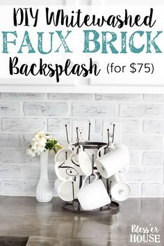 DIY Whitewashed Faux Brick Backsplash | blesserhouse.com - A quick and inexpensive way to spruce up a dated backsplash with a rustic industrial style even over existing tile!