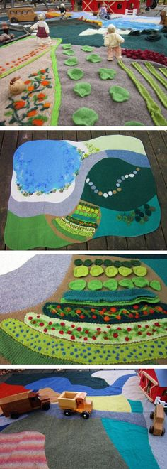 play mat with areas for imaginative play! Sewing For Kids, Diy For Kids, Crafts For Kids, Felt Play Mat, Play Mats, Sewing Projects, Craft Projects, Homemade Toys, Waldorf Toys