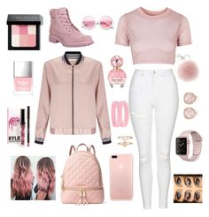 """""""Untitled #8"""" by dowlingolivia ❤ liked on Polyvore featuring MICHAEL Michael Kors, Topshop, Miss Selfridge, Timberland, Marc Jacobs, Bobbi Brown Cosmetics, ZeroUV, Butter London, Accessorize and Monica Vinader"""