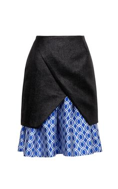 Shop Raffia Weave Diagonal Pleat Skirt With Geo Circles Hem by Ostwald Helgason - Moda Operandi