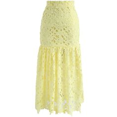 Chicwish Blooming Crochet Frill Hem Pencil Skirt in Yellow ($40) ❤ liked on Polyvore featuring skirts, yellow, crochet pencil skirt, floral knee length skirt, beige skirt, flared skirt and floral-print pencil skirts