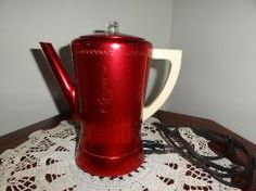Vintage West Bend red tinted aluminum 8 cup coffee percolator for sale online.