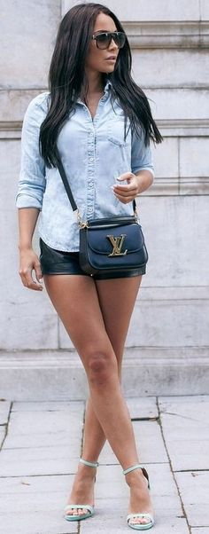 #summer #musthave #outfits   Chambray Shirt + Black Leather Shorts + Mint Sandals
