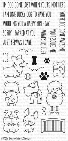 """MFT STAMPS: Lucky Dog (4"""" x 8.5"""" Clear Photopolymer Stamp Set) This package includes Lucky Dog, a 24 piece set that includes: Dogs (7) ranging from 1"""" x 5/8"""" to 1 1/8"""" x 2"""", Fence 1 3/8"""" x 3/4"""", Ball"""