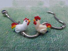 Rooster bead Cock bead Chicken bead Pandora bead от Julaglass