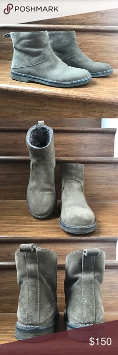 """🔥HP!🔥Vince 'Carrie' Suede Shearling Lined Bootie 🔥Host Pick for Best in Shoes Party 3/15!🔥In excellent, preowned condition. No flaws aside from normal wear. EU39/US8 per shoe (see pic). Greyish tan color. A gum-rubber sole grounds the off-duty aesthetic of an easy, abbreviated boot. 1"""" heel. 5 1/2"""" boot shaft. Suede upper/genuine shearling (Australia) and leather lining/crepe-rubber sole. By Vince; made in Italy. Vince Shoes Ankle Boots & Booties"""