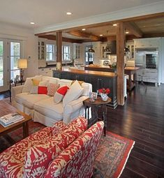 Lake house. Love the juxtaposition of Traditional and Rustic... very inviting.