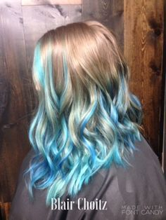Image Result For Blue Streaks Blonde Hair Medium Hair Styles