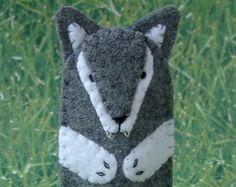 Grey Wolf Finger Puppet - Big Bad Wolf Puppet - Felt Animal Puppet Wolf - Felt…