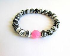 Zebra beaded bracelet Black Striped Bangle Black by EfZinCreations, $21.00