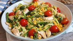 Pasta Casera, Pasta Salad, Chicken, Meat, Ethnic Recipes, Food, Youtube, Anna, Zucchini Spaghetti