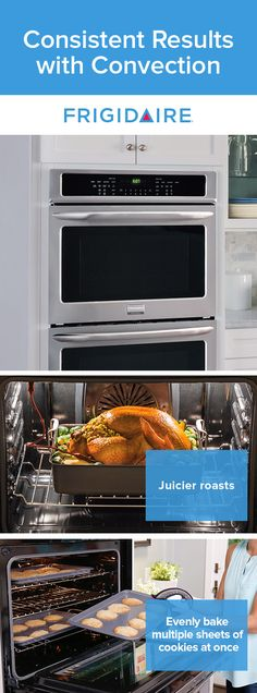 Bake and roast with more consistent results. The Frigidaire Double Wall Oven features convection technology that uses a fan to continually circulate air throughout the oven for consistently even dishes.