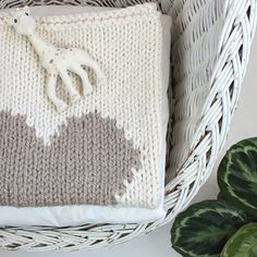 Heart Baby Blanket Cream and Desert Beige Hand Knit by YarningMade